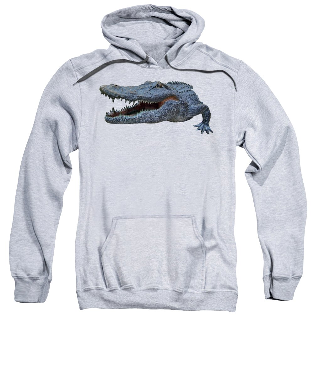 The Swamp Sweatshirt featuring the photograph 1998 Bull Gator Up Close Transparent For Customization by D Hackett