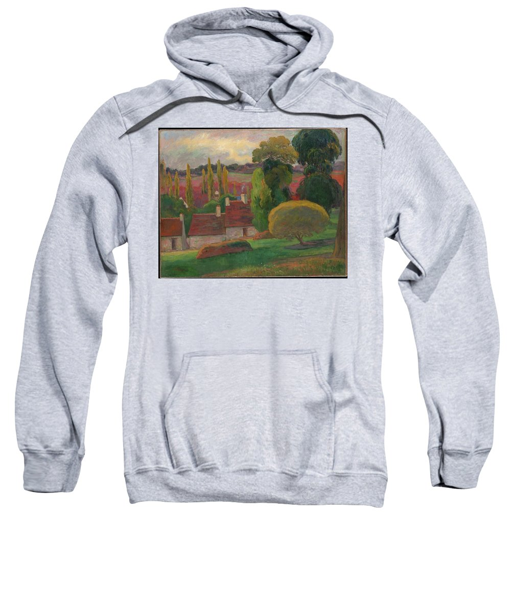 A Farm In Brittany Sweatshirt featuring the painting A Farm In Brittany by MotionAge Designs