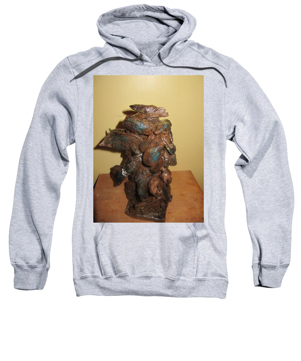 Jesus Sweatshirt featuring the sculpture African Mermaid by Gloria Ssali