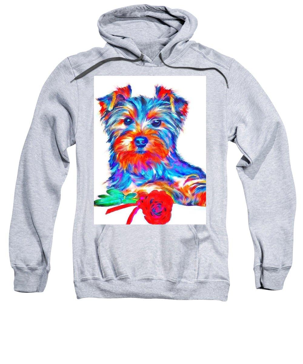 Art Dogportrait Sweatshirt featuring the painting Art Dogportrait by Sergey Gubinets