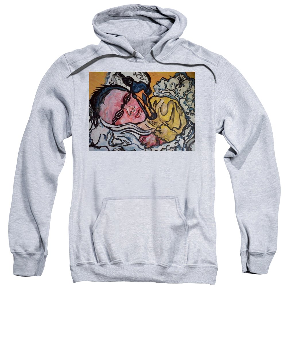 Abstract Sweatshirt featuring the painting Baby Drew by Greta Redzko