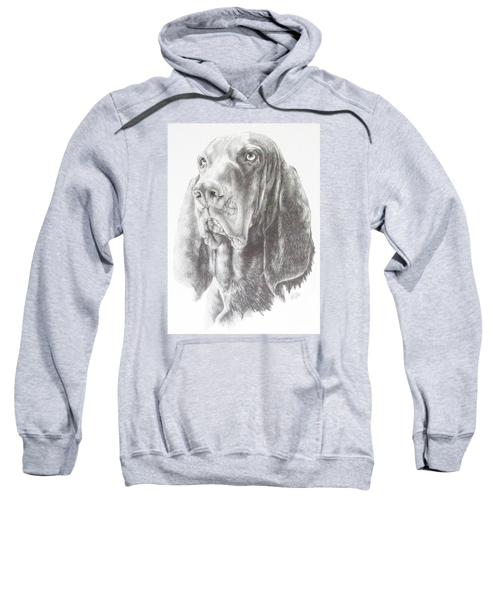 Purebred Dogs Sweatshirt featuring the drawing Black And Tan Coonhound by Barbara Keith