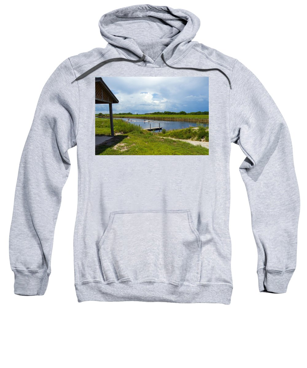 Florida; C54; Canal; Fellsmere; Sebastian; Grade; Drain; Draining; Water; Flow; Flowing; Indian; Riv Sweatshirt featuring the photograph C54 Canal In Florida by Allan Hughes