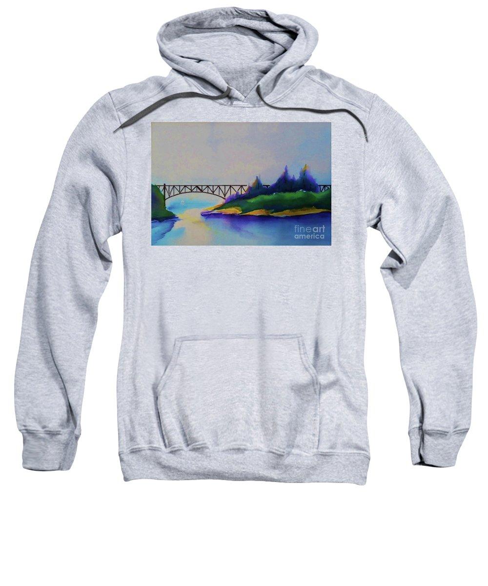 Deception Pass Sweatshirt featuring the painting Deception Pass Bridge by Camille Brighten