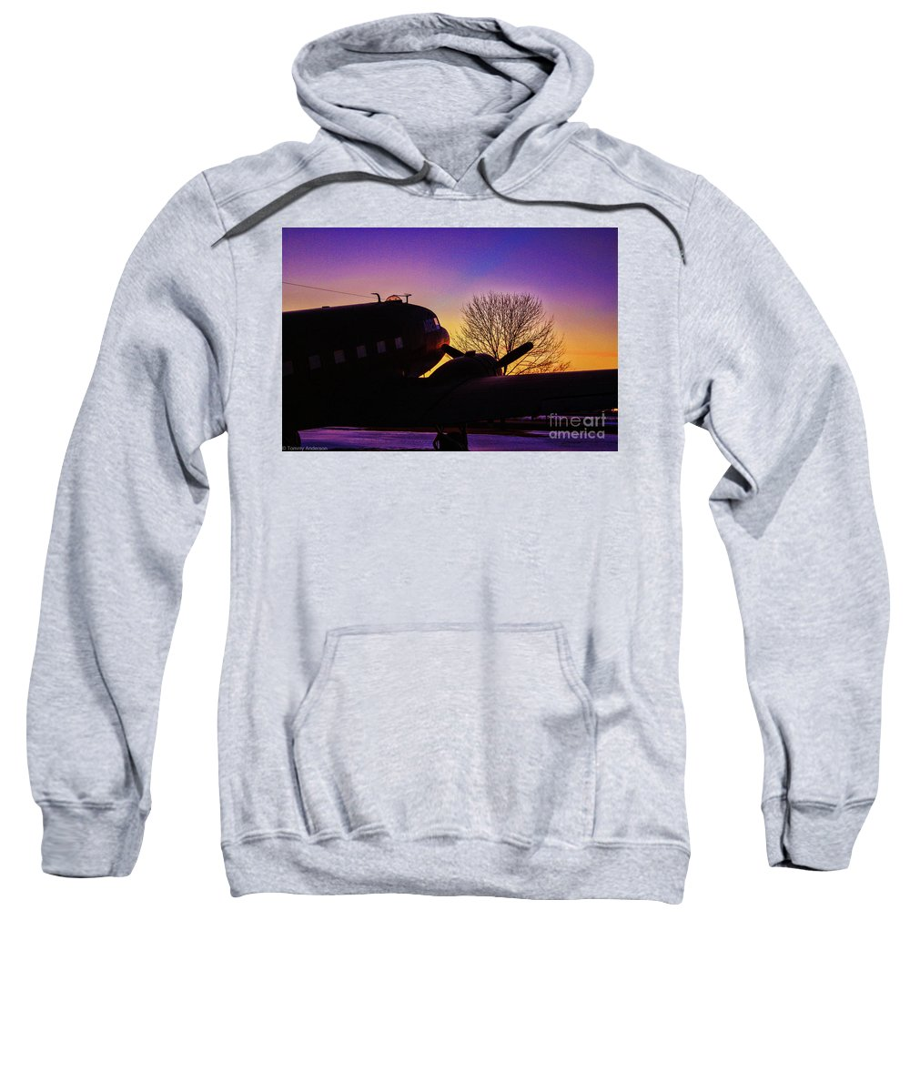 Douglas C-47 Sweatshirt featuring the photograph End Of The Day by Tommy Anderson