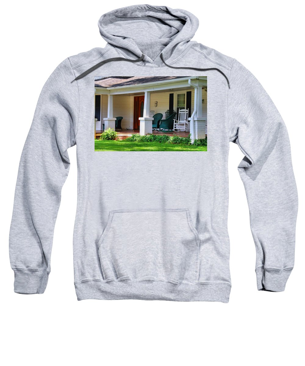 Porch Sweatshirt featuring the photograph Grand Old House Porch by Kathryn Meyer