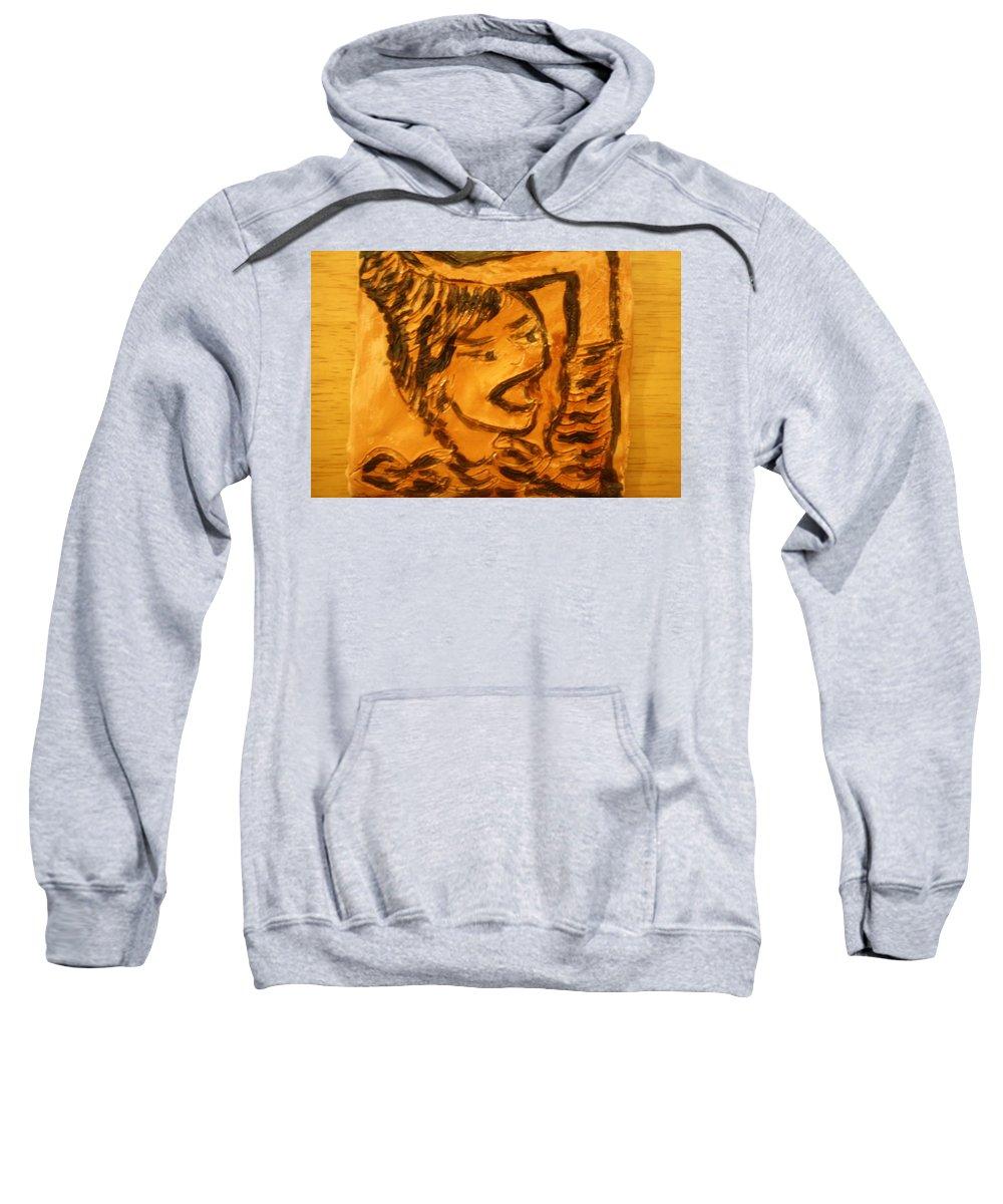 Jesus Sweatshirt featuring the ceramic art Hair Day - Tile by Gloria Ssali