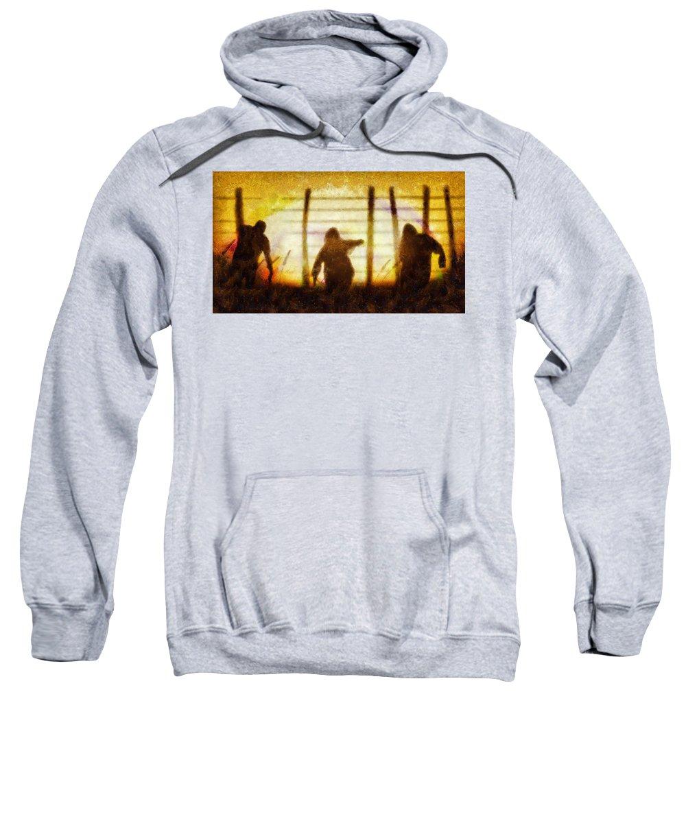 Fantasy Sweatshirt featuring the painting Halloween Horror Zombie Rampage by Sarah Kirk