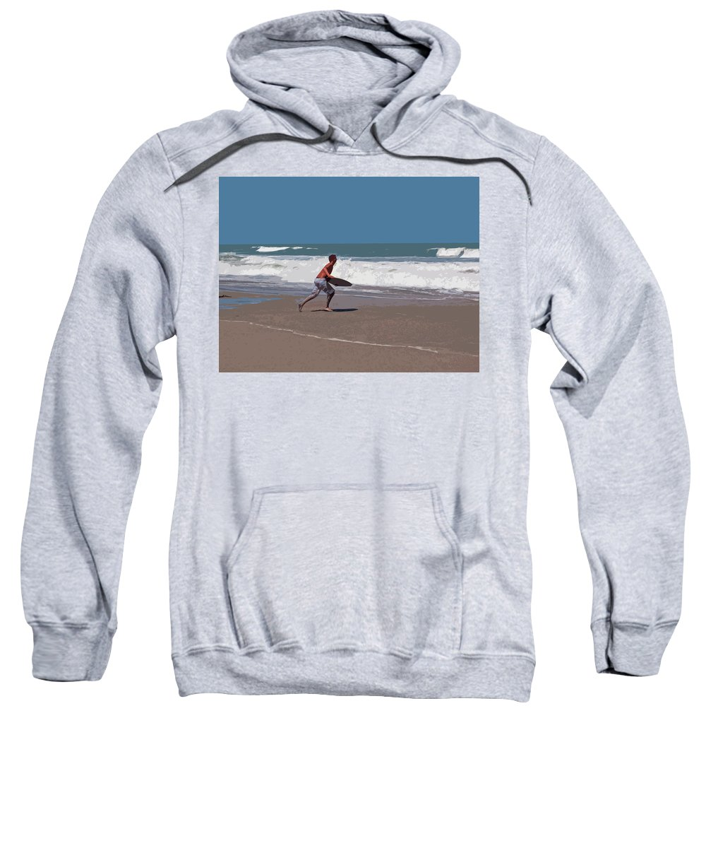 Boogie Sweatshirt featuring the painting Hurricane Surf In Florida by Allan Hughes