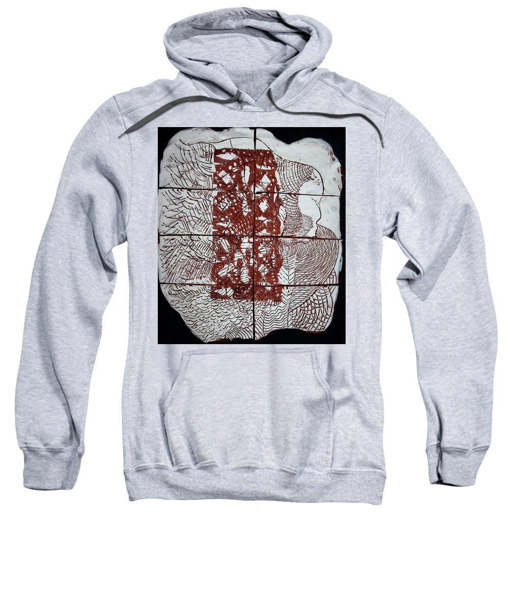 Mama Africa Twojesus Sweatshirt featuring the ceramic art Jesus The Good Shepherd by Gloria Ssali