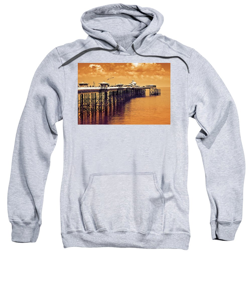 Llandudno Sweatshirt featuring the photograph Llandudno Pier North Wales Uk by Mal Bray