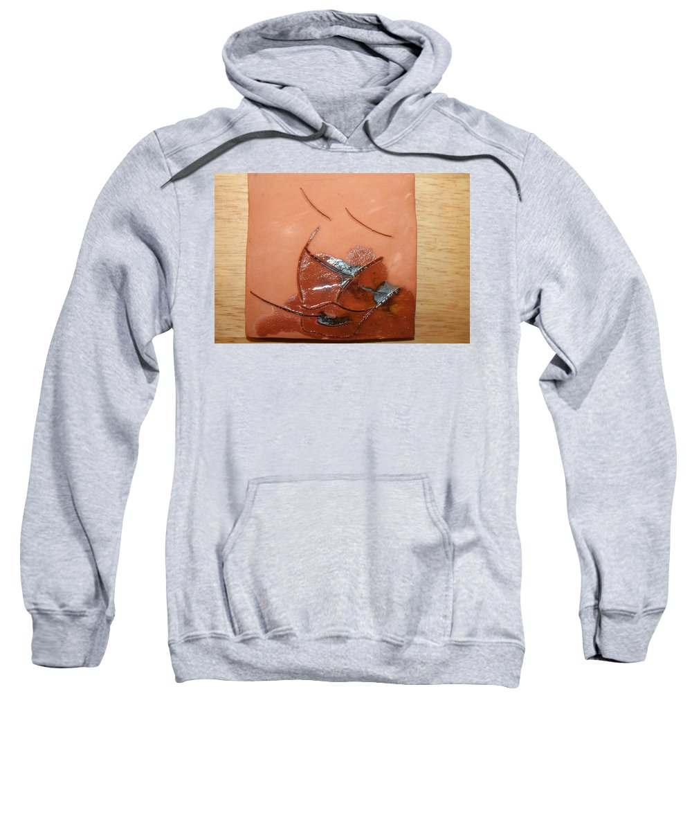 Jesus Sweatshirt featuring the ceramic art Loss - Tile by Gloria Ssali