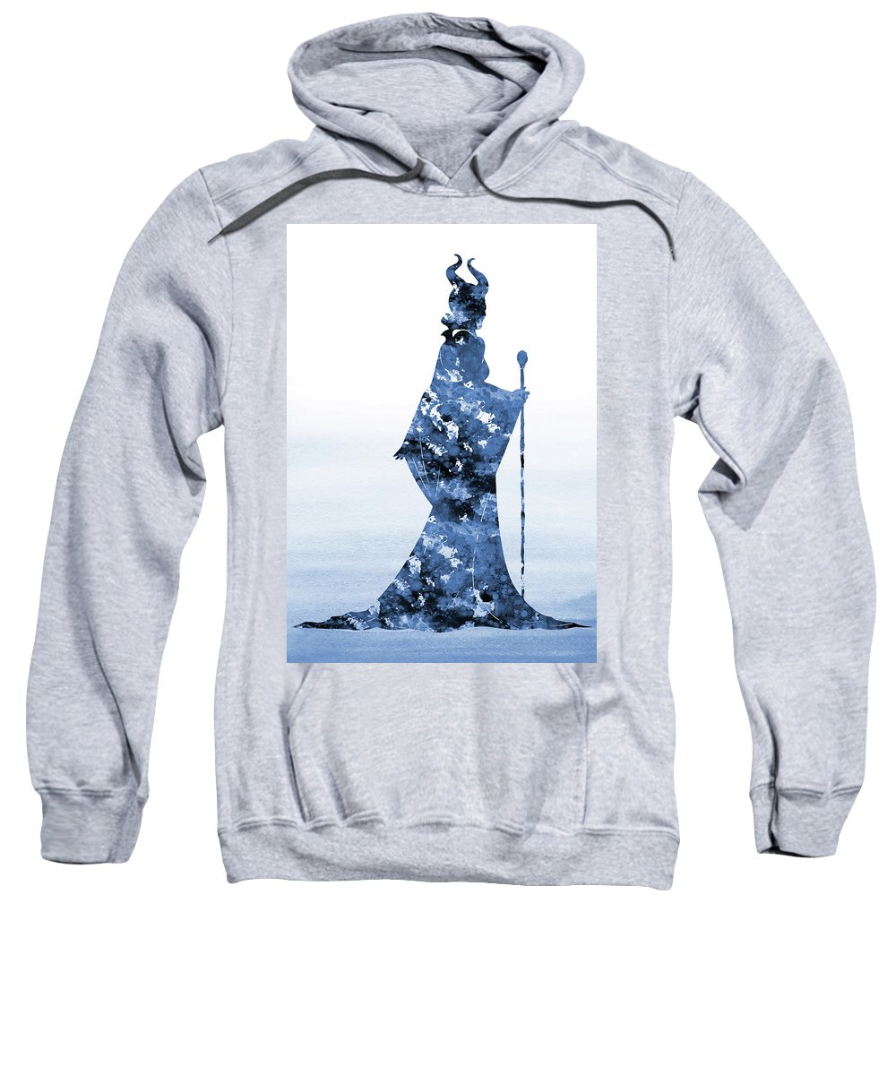 Sleeping Beauty Inspired Sweatshirt featuring the digital art Maleficent-blue by Erzebet S