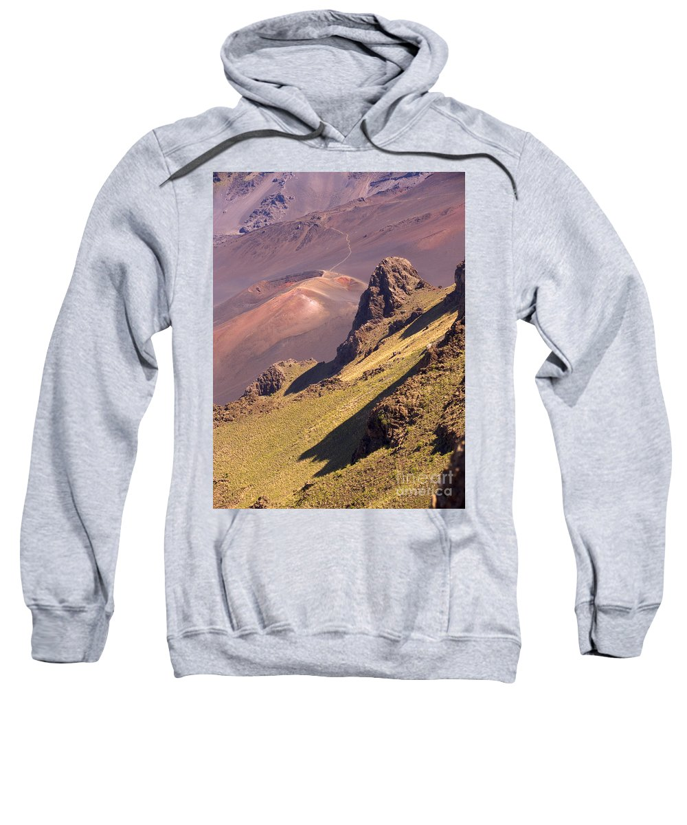 Above Sweatshirt featuring the photograph Maui, Haleakala Crater by Ron Dahlquist - Printscapes