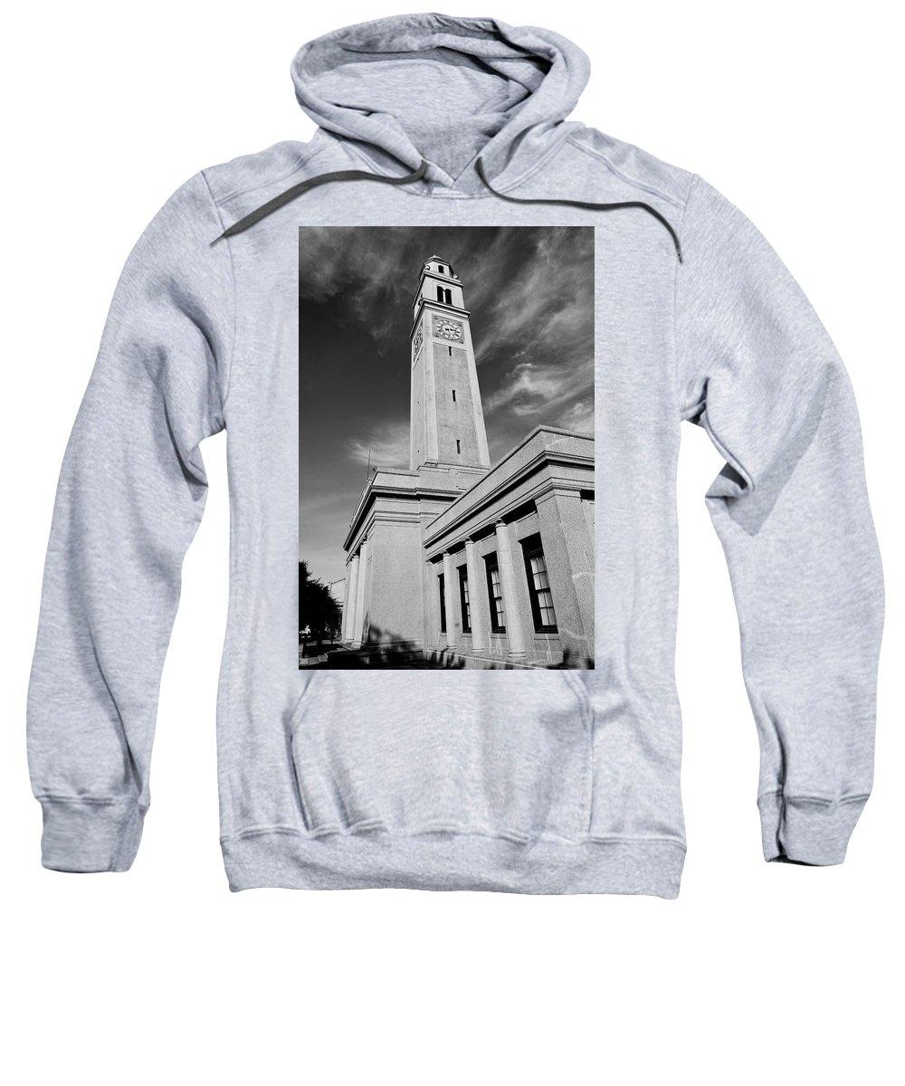 Lsu Sweatshirt featuring the photograph Memorial Tower - Lsu Bw by Scott Pellegrin