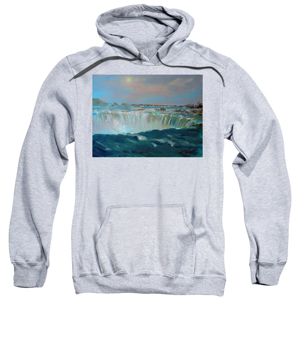 Landscape Sweatshirt featuring the painting Niagara Falls by Ylli Haruni