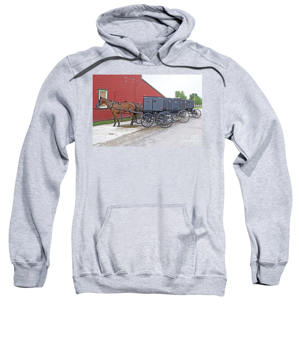 Amish Sweatshirt featuring the photograph Amish Parking Lot by Ann Horn