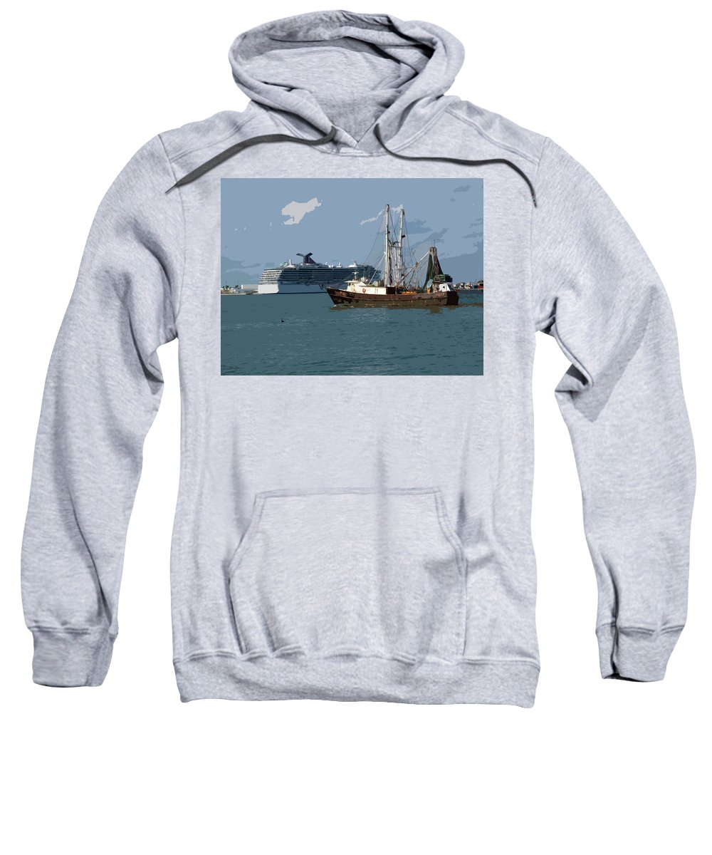Florida Sweatshirt featuring the painting Port Canaveral In Florida Usa by Allan Hughes
