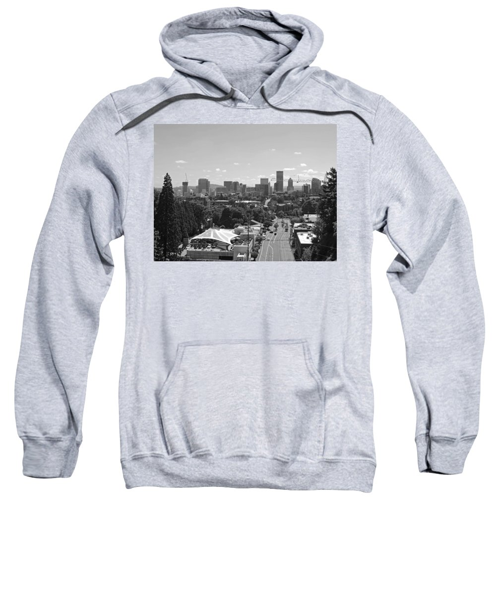 Portland Sweatshirt featuring the photograph Portland Skyline Black And White by Cityscape Photography