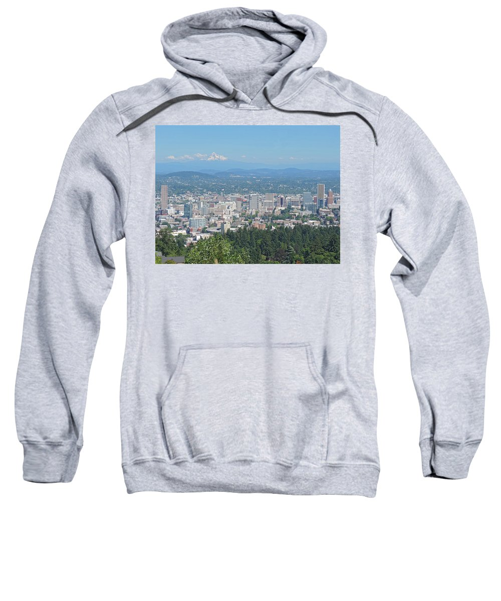 Portland Sweatshirt featuring the photograph Portland Skyline With Mount Hood by Cityscape Photography