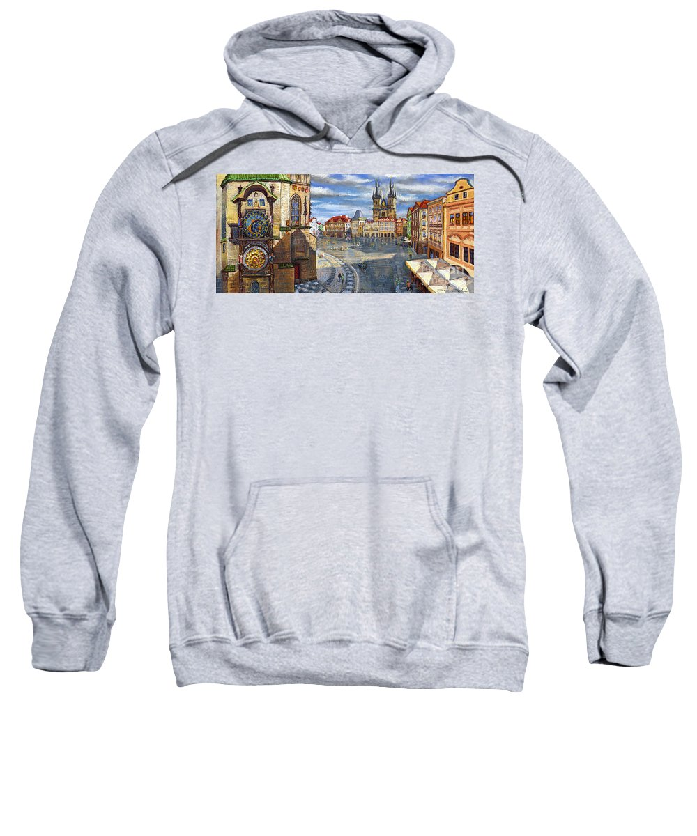 Pastel Sweatshirt featuring the painting Prague Old Town Squere by Yuriy Shevchuk