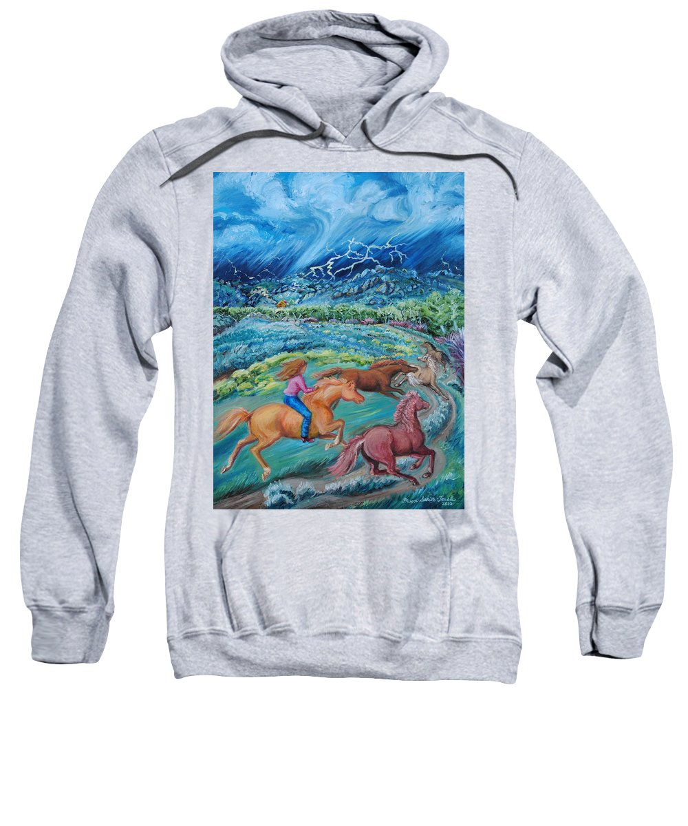 Landscape Sweatshirt featuring the painting Racing The Lightning Home by Dawn Senior-Trask