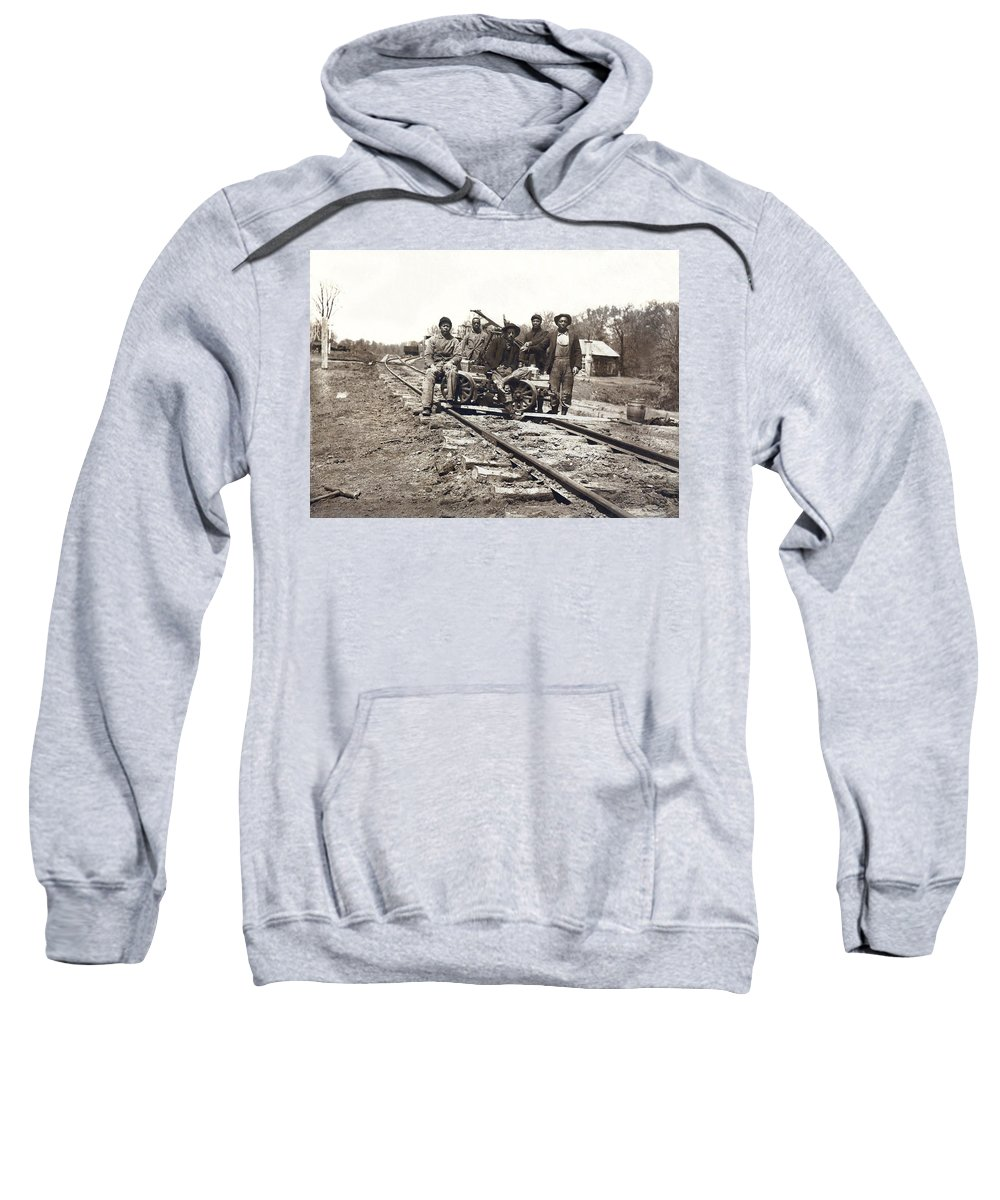 1890 Sweatshirt featuring the photograph Railroad Workers by Underwood Archives