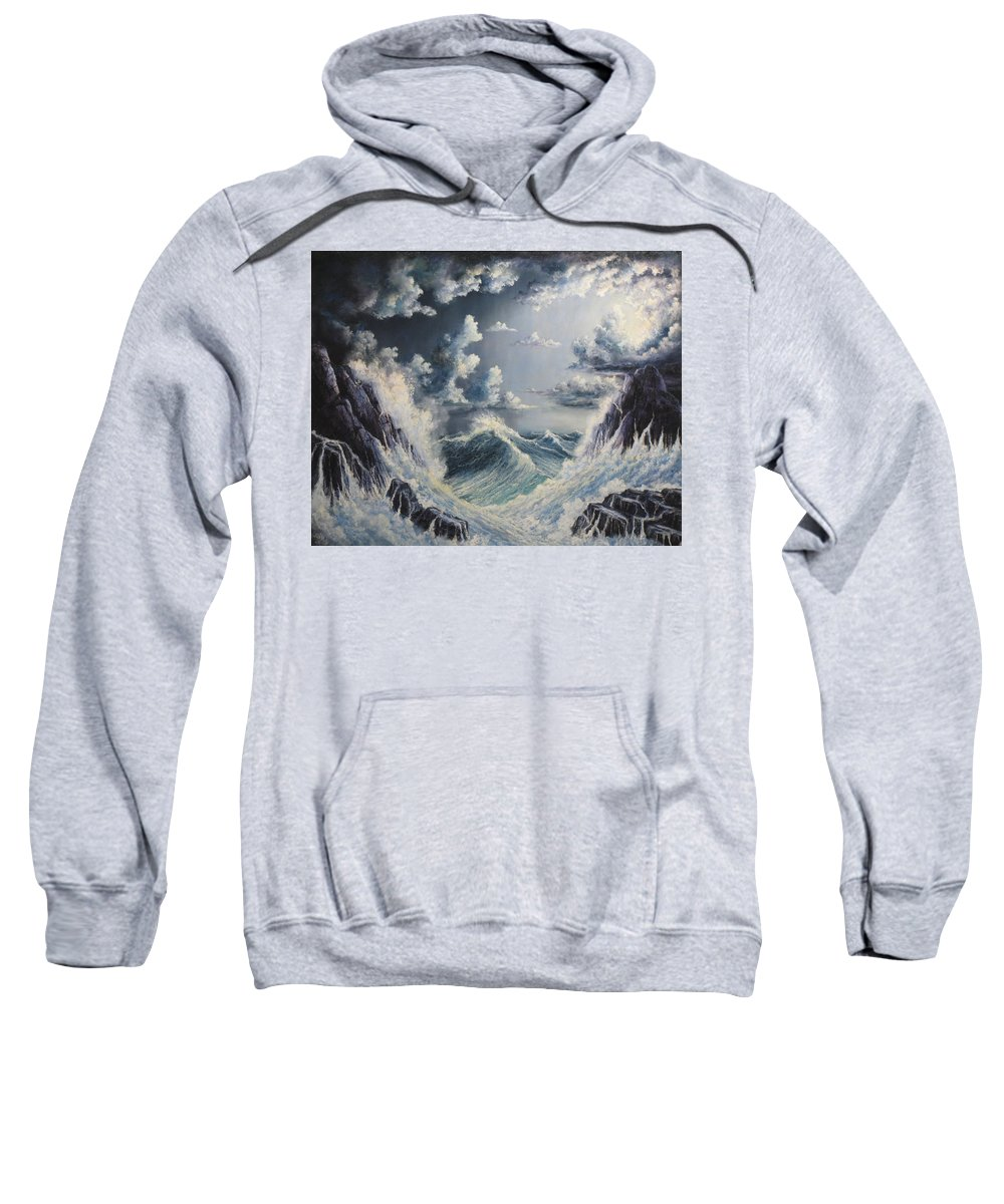 Seascape Sunset.seascape Sweatshirt featuring the painting Stormy Sea by John Cocoris