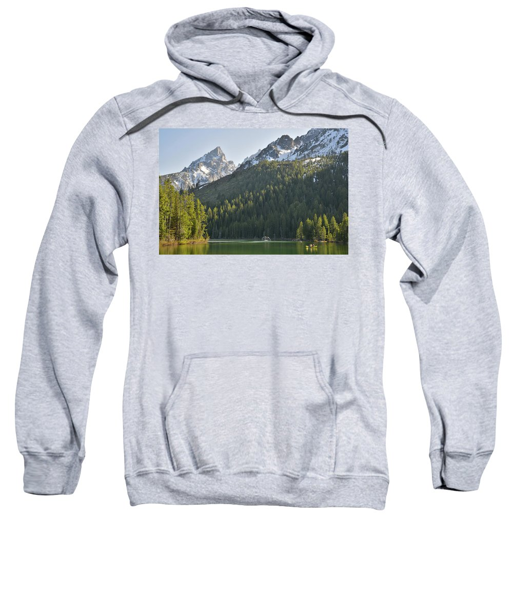 Grand Teton National Park Sweatshirt featuring the photograph String Lake Reflection by Ray Mathis