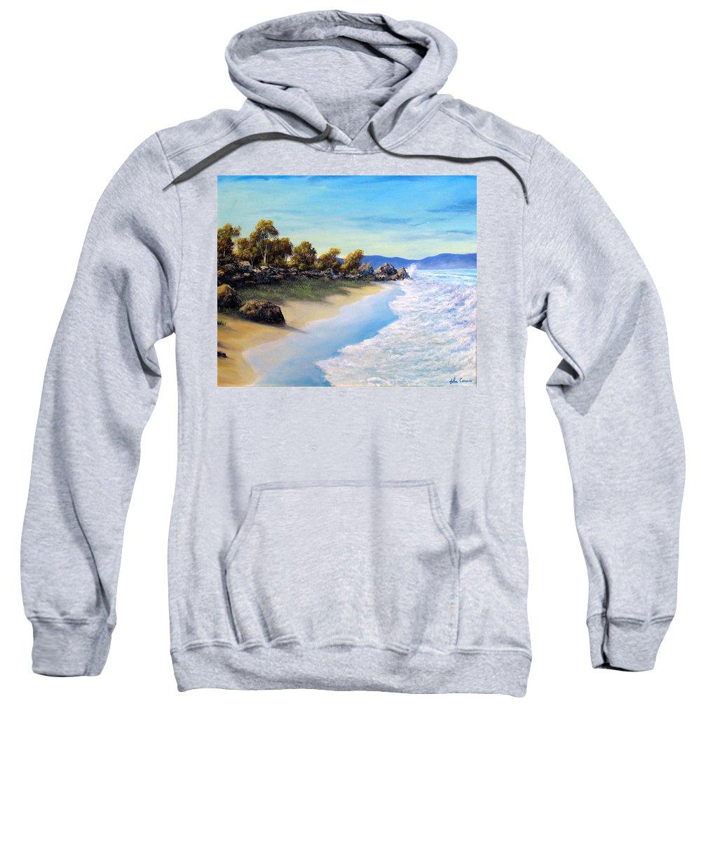 Beach Sweatshirt featuring the painting Surf Surge by John Cocoris