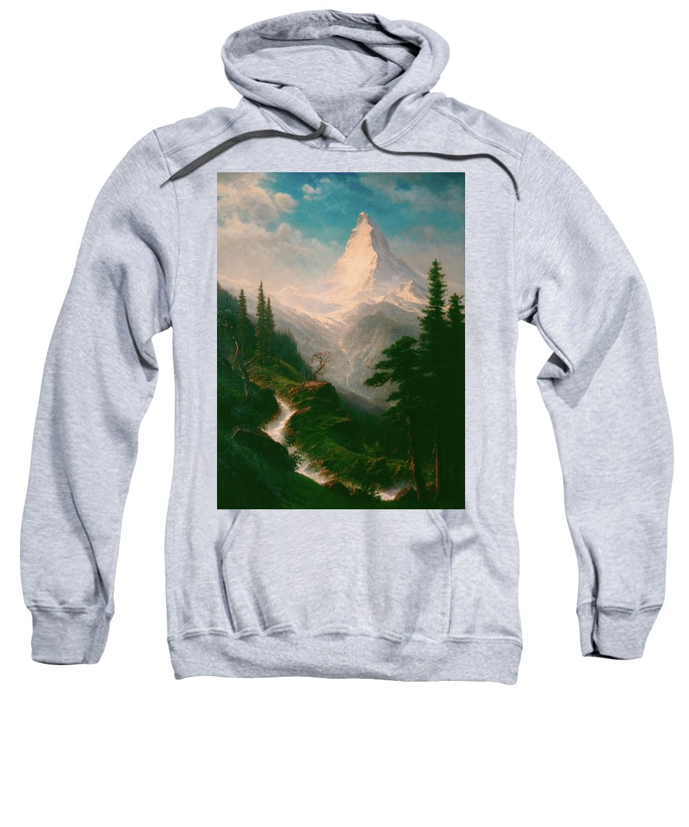 Albert Bierstadt Sweatshirt featuring the painting The Matterhorn by Albert Bierstadt