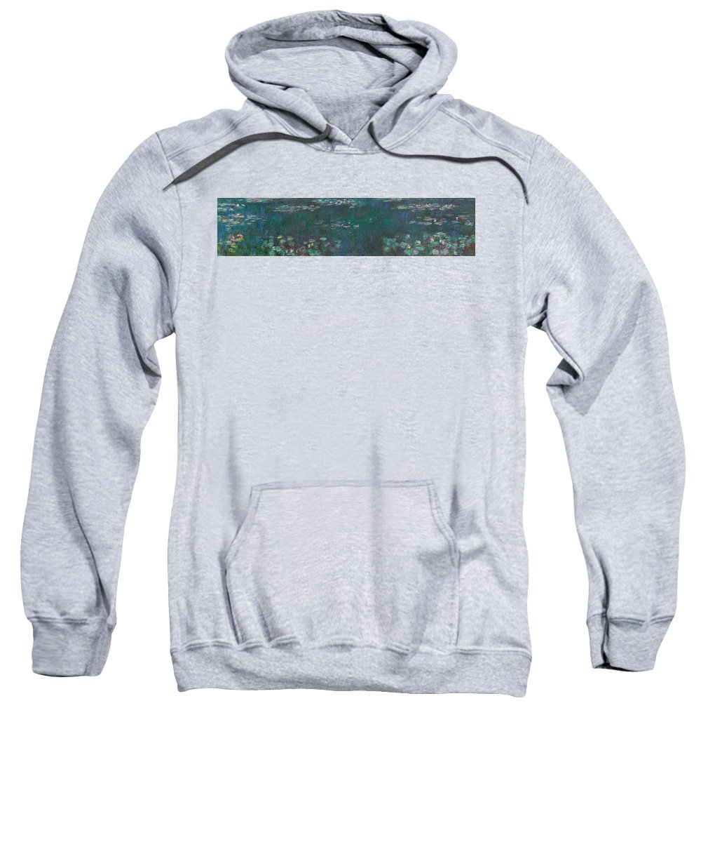 The Water Lilies Sweatshirt featuring the painting The Water Lilies, Green Reflections by Claude Monet