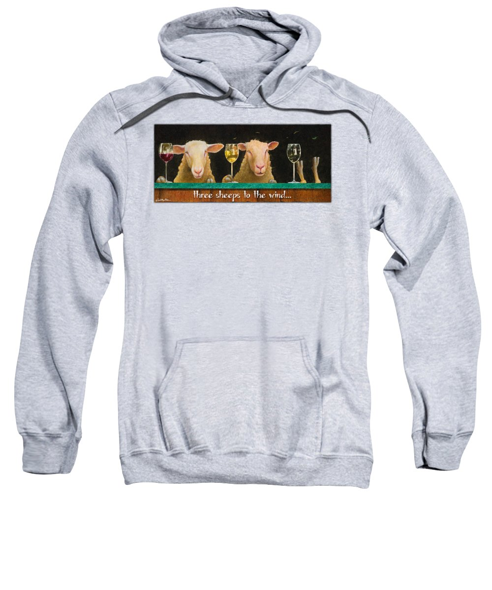 Will Bullas Sweatshirt featuring the painting Three Sheeps To The Wind... by Will Bullas