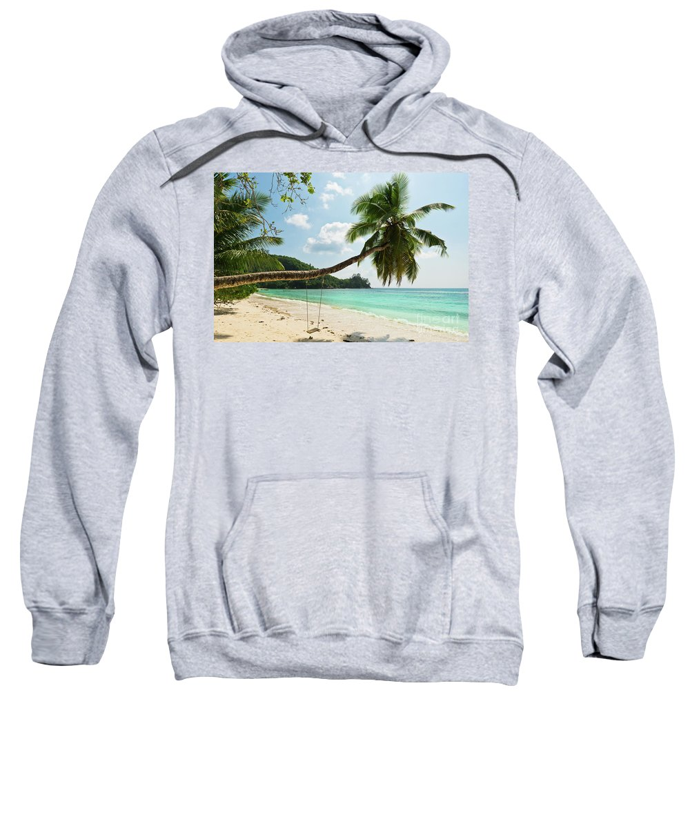 Beach Sweatshirt featuring the photograph Tropical Beach At Mahe Island Seychelles by Dvoevnore Photo