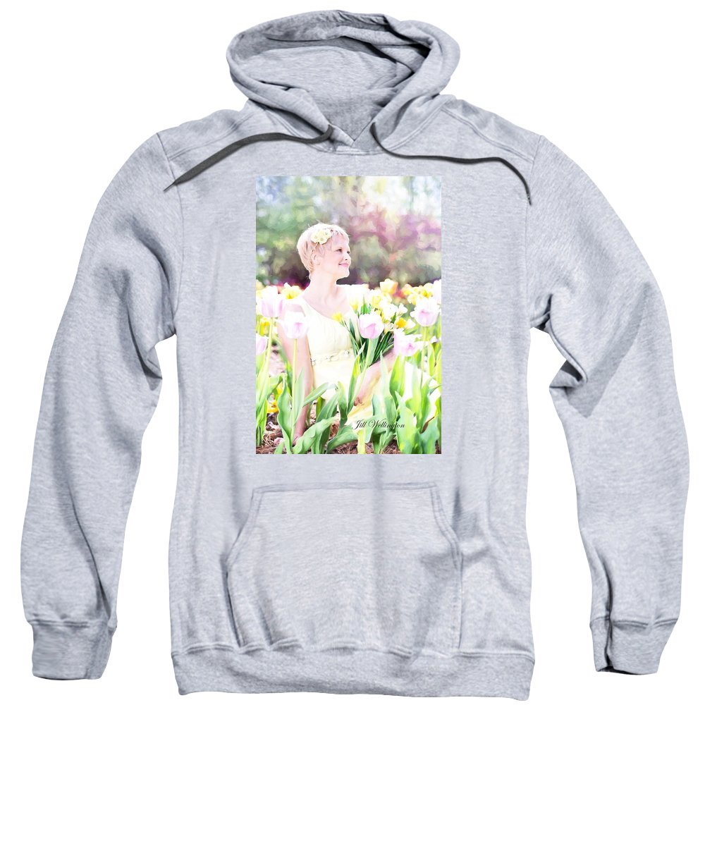 Vintage Val Sweatshirt featuring the digital art Vintage Val Spring Tulips by Jill Wellington