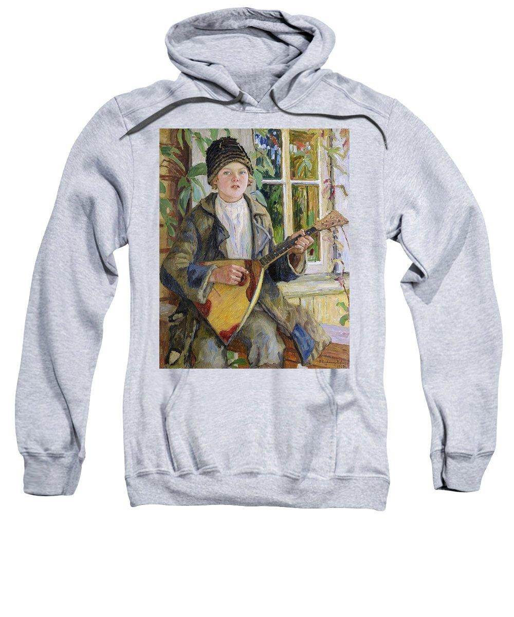 Mandolin Sweatshirt featuring the digital art Young Boy With A Balalaika Nikolai Petrovich Bogdanov-belsky by Eloisa Mannion