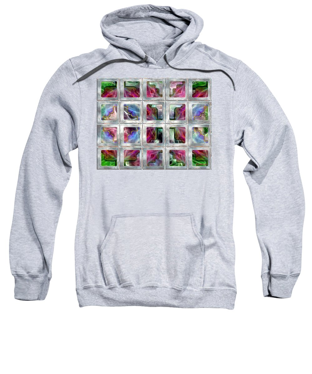 Abstract Sweatshirt featuring the painting 20 Deco Windows by RC DeWinter