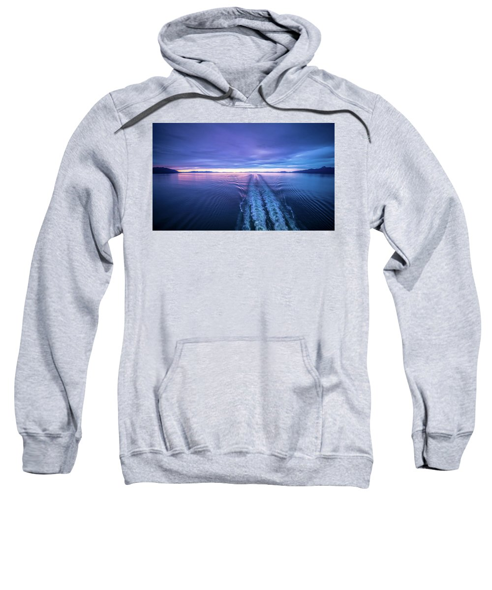Sunset Sweatshirt featuring the photograph Sunset Over Alaska Fjords On A Cruise Trip Near Ketchikan by Alex Grichenko