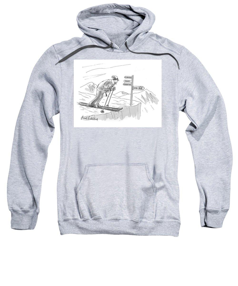 Yawner Sweatshirt featuring the drawing 2018 by Mort Gerberg