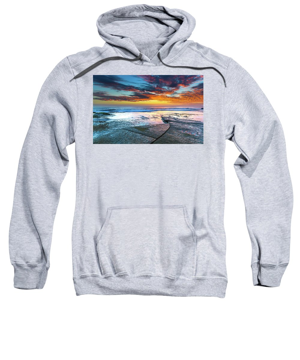 Australia Sweatshirt featuring the photograph Sunrise Seascape And Rock Platform by Merrillie Redden