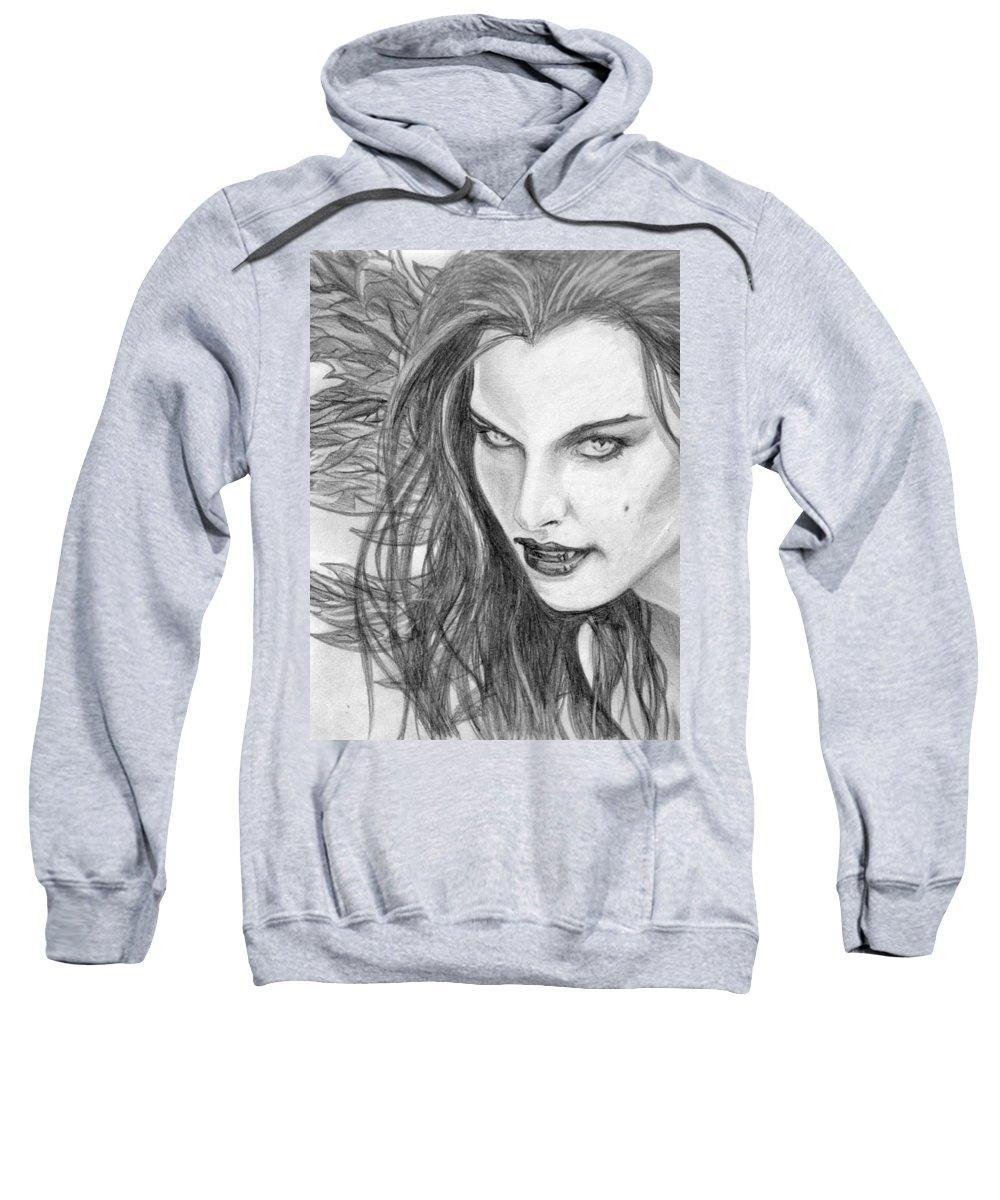 Vampiress Sweatshirt featuring the drawing 25 by Kristopher VonKaufman