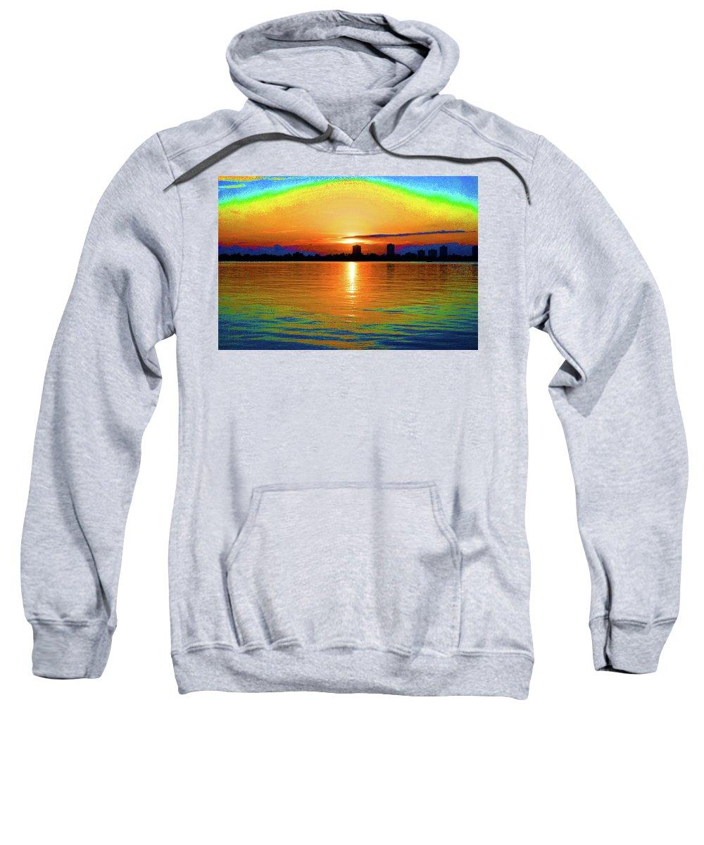 Sunrise Sweatshirt featuring the digital art 25- Psychedelic Sunrise by Joseph Keane