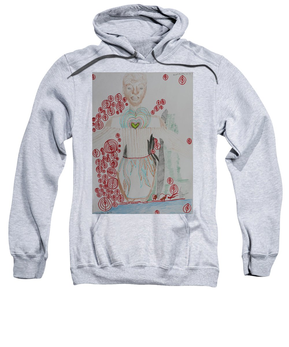 Jesus Sweatshirt featuring the painting St Michael The Archangel by Gloria Ssali