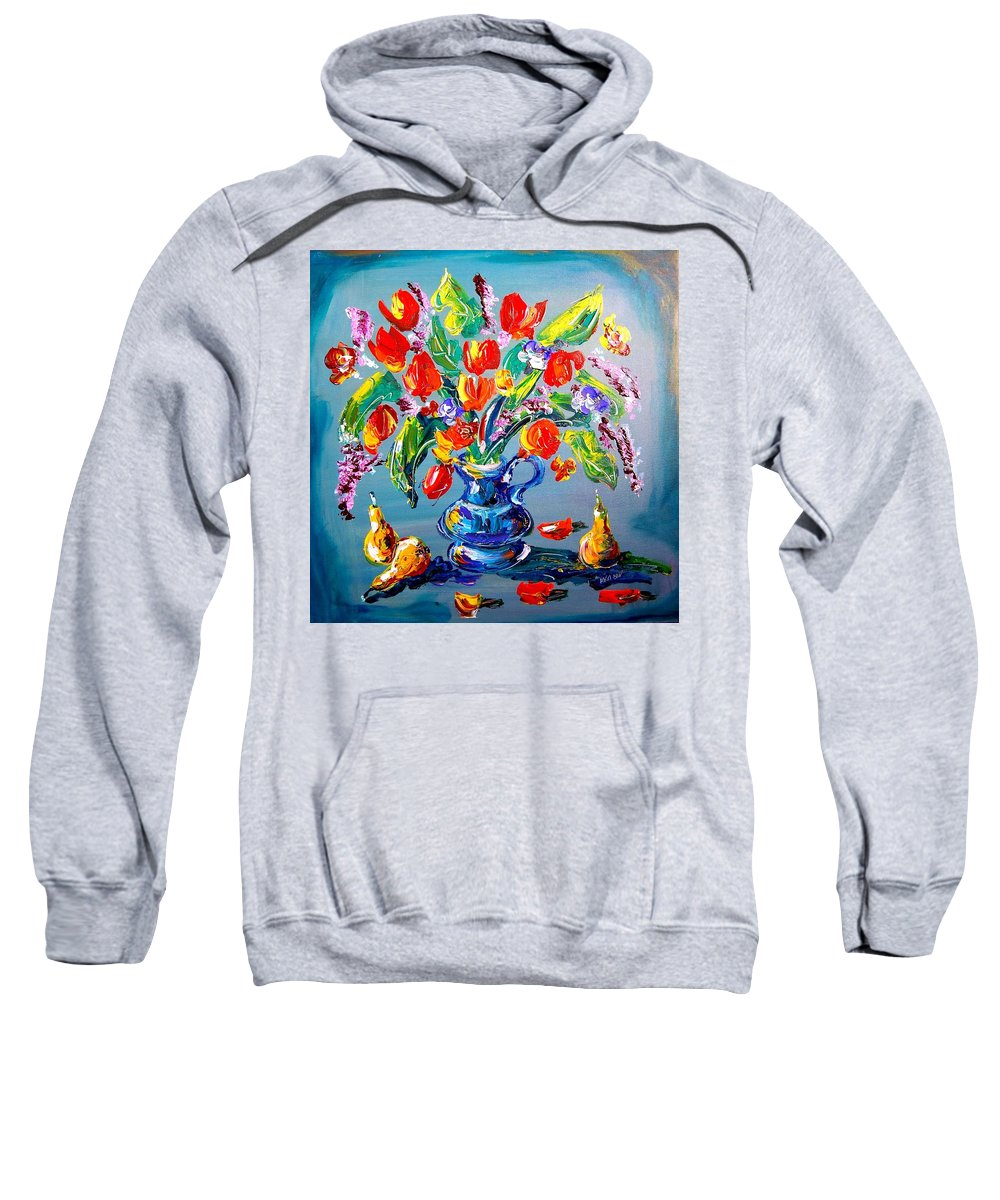 Landscape Framed Prints Sweatshirt featuring the painting Flowers by Mark Kazav