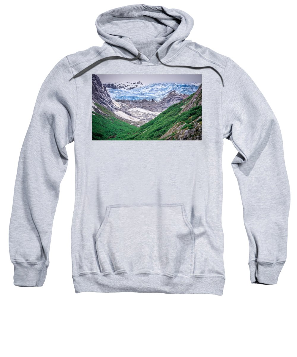Glacier Sweatshirt featuring the photograph Glacier And Mountains Landscapes In Wild And Beautiful Alaska by Alex Grichenko