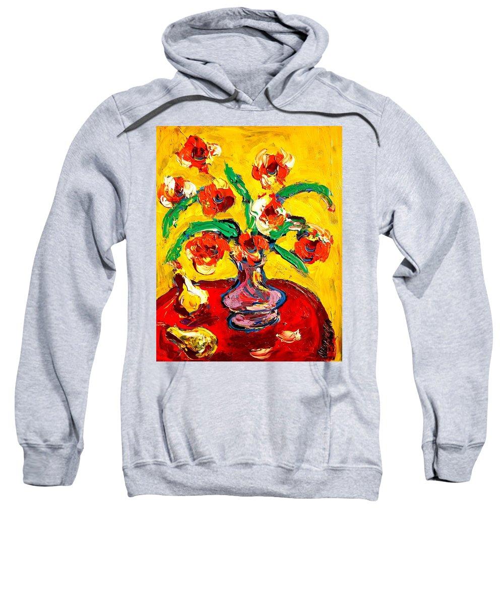 Newyork Sweatshirt featuring the painting Flowers by Mark Kazav