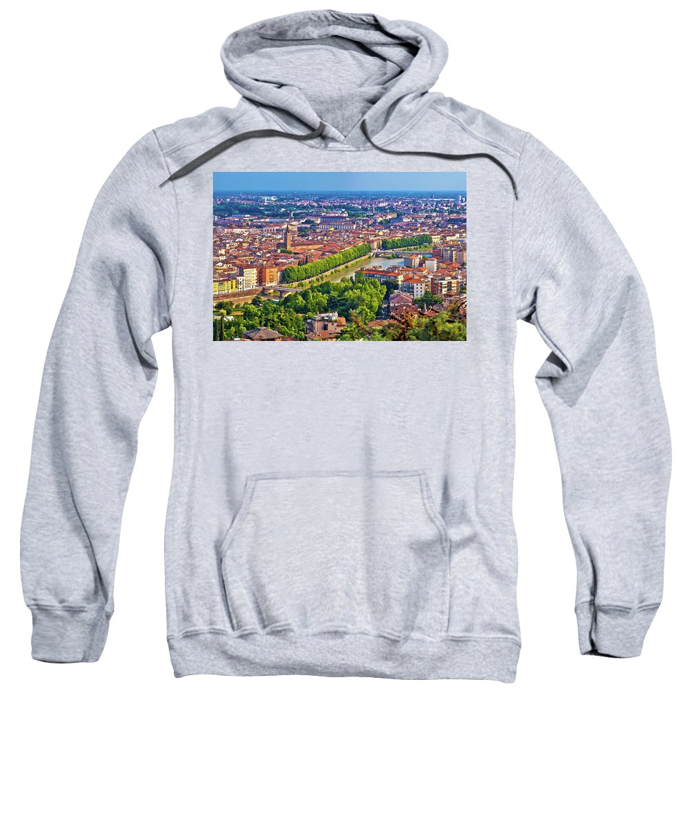 Verona Sweatshirt featuring the photograph City Of Verona Old Center And Adige River Aerial Panoramic View by Brch Photography