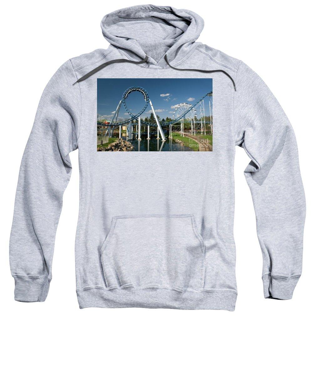 Cork-screw Rollercoaster Sweatshirt featuring the photograph Cork-screw Rollercoaster And Ferris-wheel by Anthony Totah