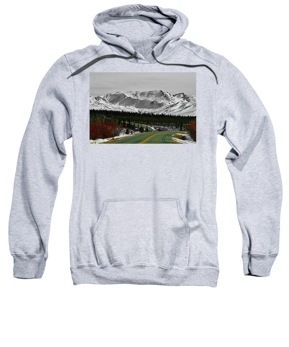 Denali Park Alaska Snow Montain Blue Sky Sweatshirt featuring the photograph Denali Park - Alaska by Galeria Trompiz