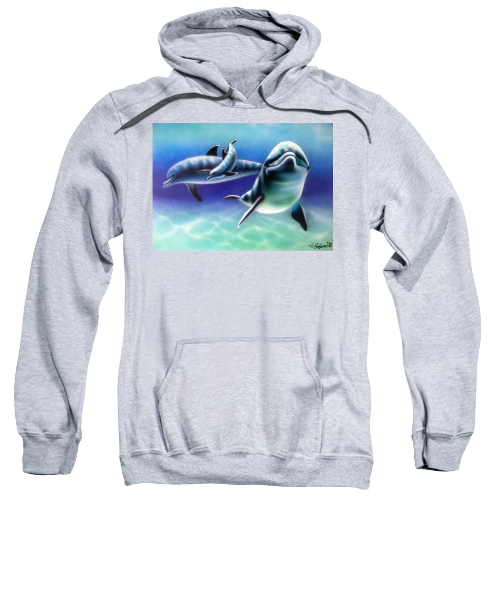 Dolphins Sweatshirt featuring the painting 3 Dolphins by Robert Salyers